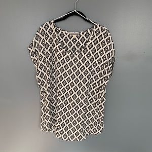 Pleione Pattern Blouse Black & White Size M